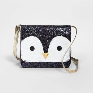 NWT Girls Glitter Penguin Crossbody Purse Cat Jack